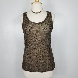 Chico's Browns Cream Textured Loose Knit Stretchy Tank Top, 2